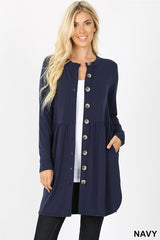 Shirred Waist Button Cardigan with Side Pockets