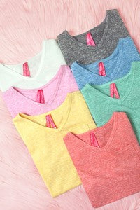 GIRLS HEATHERED VNECK TEE