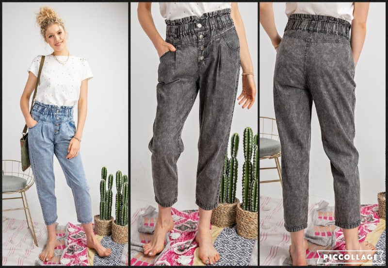 High Waisted Washed Denim Paperbag Jeans