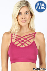 Seamless Triple Criss-Cross Front Bralette with Removable Bra Pads