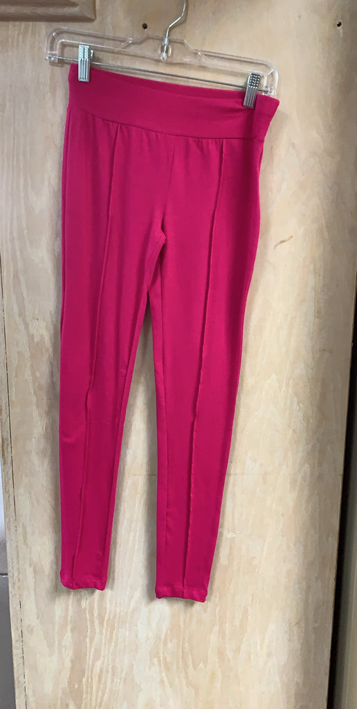 Magenta Cotton Stretchy Ankle Leggings