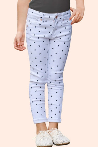 GIRLS Twill Stretch Pants w/ Heart Flocking