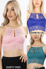 Keyhole High Neck Lace Bralette