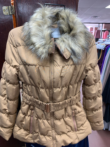 Quilted Zip Up Belted Jacket
