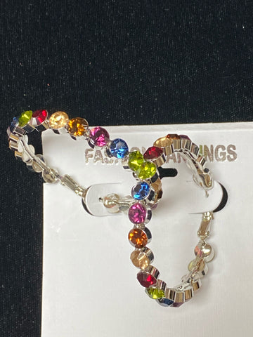 Silver Hoops with Multi-Colored Stones