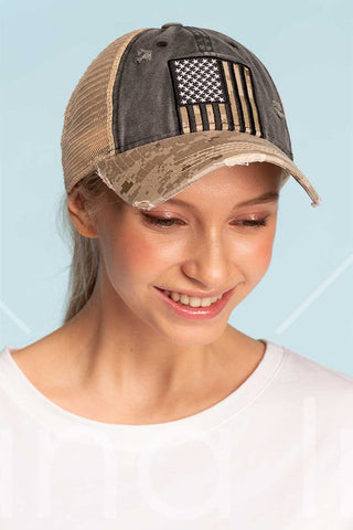 Camo Flag Ponytail Cap