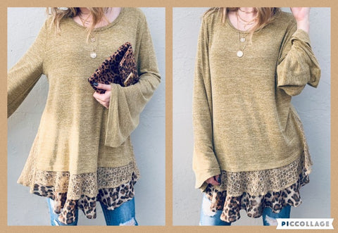 Leopard And Lace Layered Tunic Bell Sleeve Top