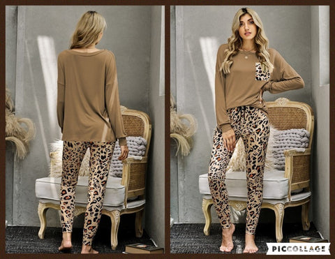 Casual Long Sleeve Leopard Pants Loungewear Set