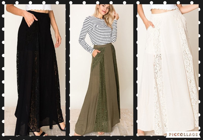 A LINE MAXI SKIRT WITH LACE AND CROCHET DETAIL
