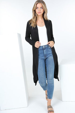 Long Sleeve Long Open Front Cardigan
