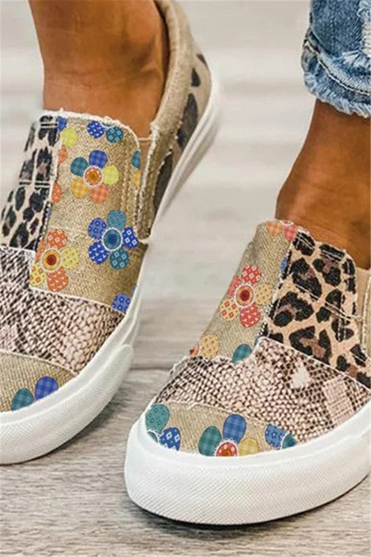 Animal Floral Print Splicing Slip On Sneakers