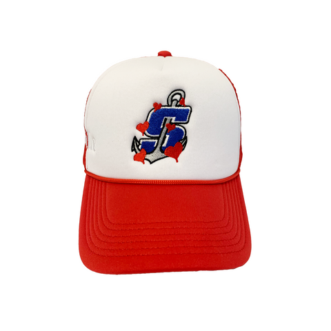 """Mudville"" Red/White Trucker Hat"