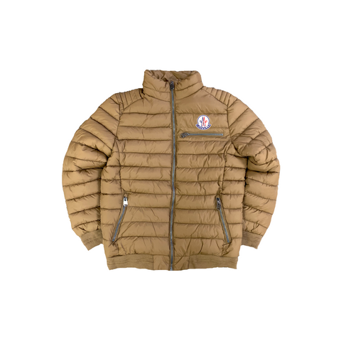 """Mudcler"" Khaki Nylon Down Jacket"