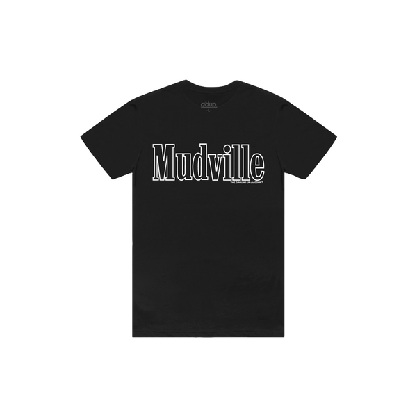 """Mudville"" Black Outline Tee"