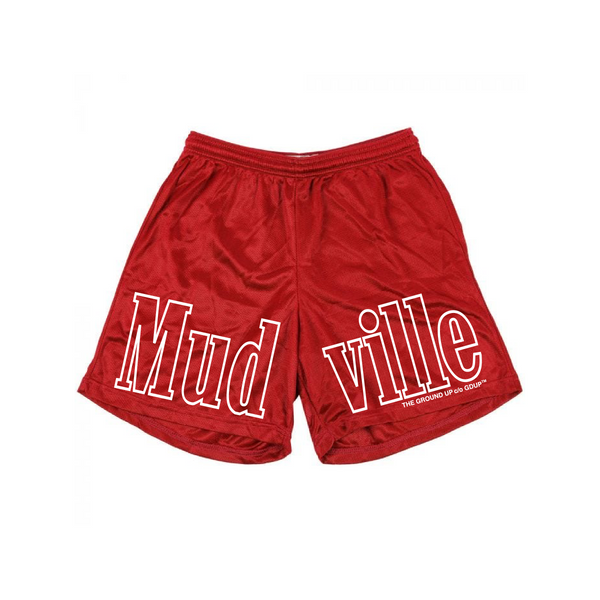"""Mudville"" Red Mesh Gym Shorts"