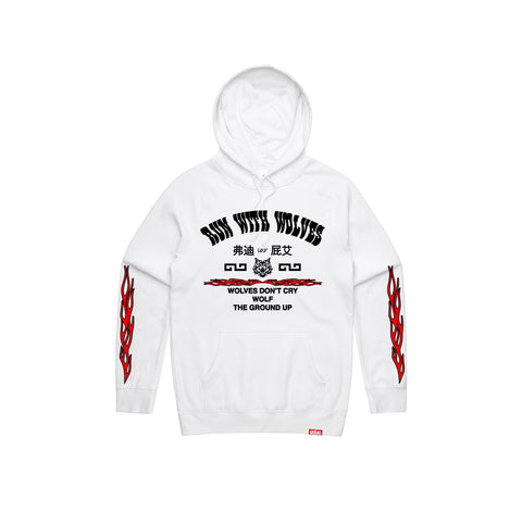 """Run With Wolves"" White Hoodie"