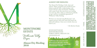 Montinore Estate, Almost Dry Riesling Willamette Valley (2018)