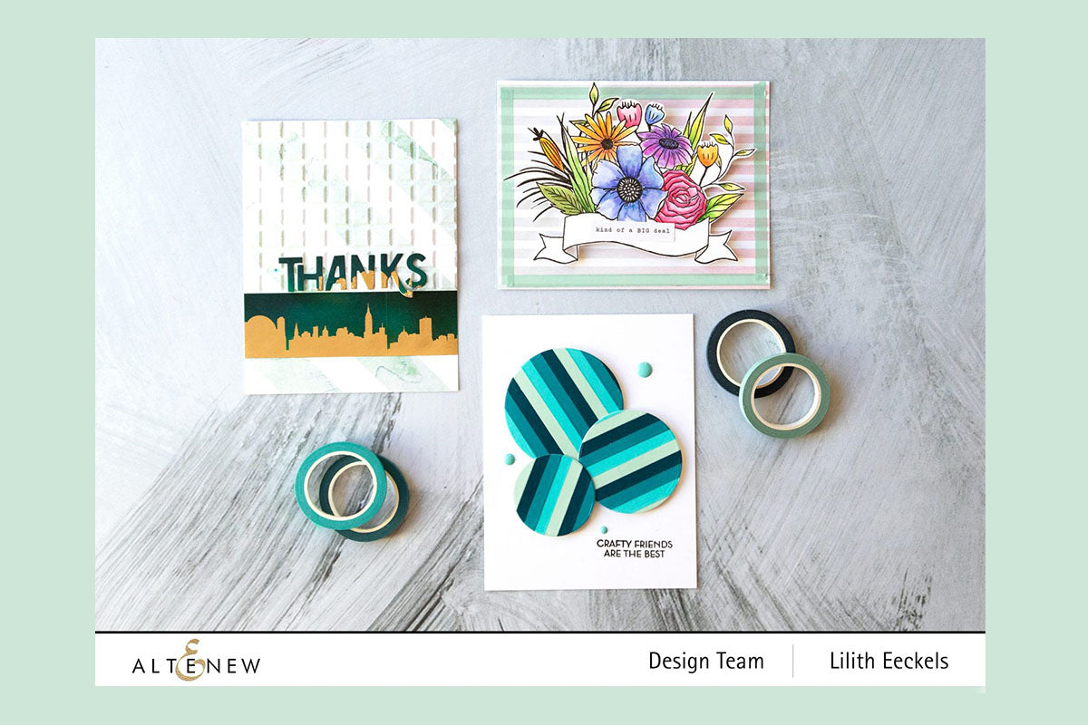 Handmade cards created with Altenew washi tapes