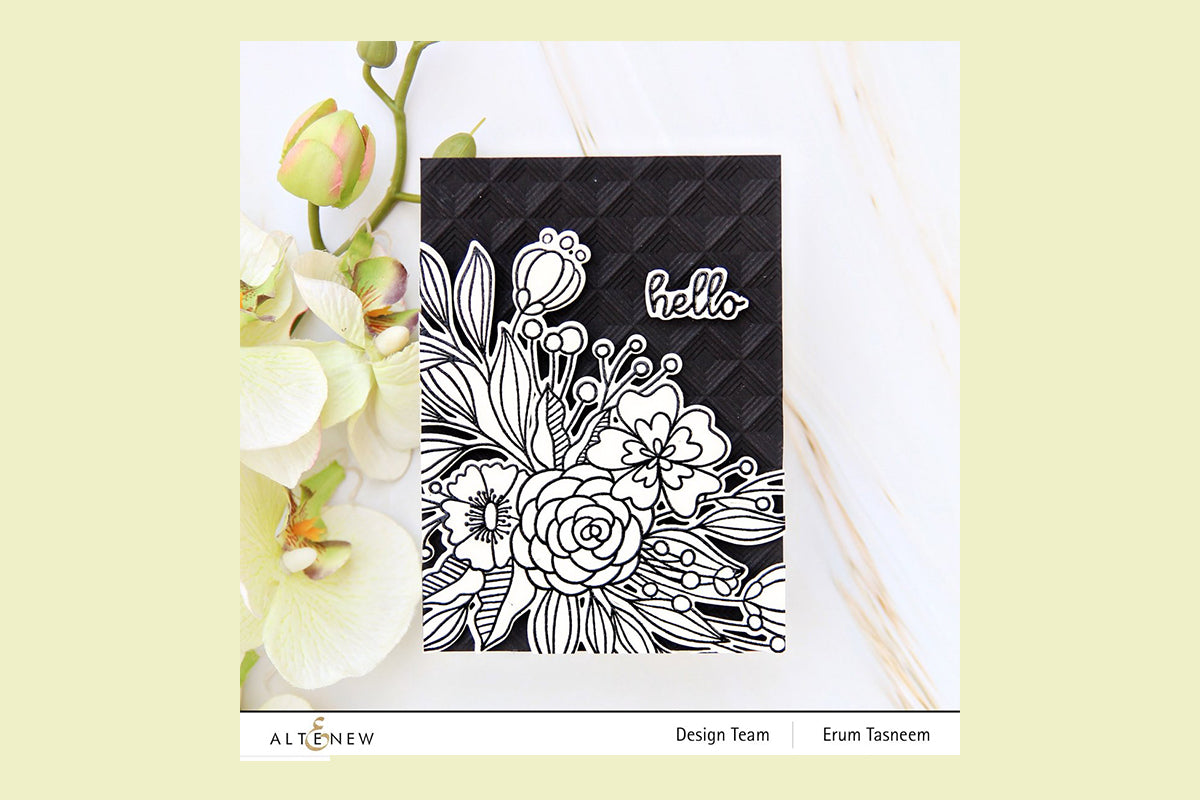 Monochrome handmade card created with floral stamps