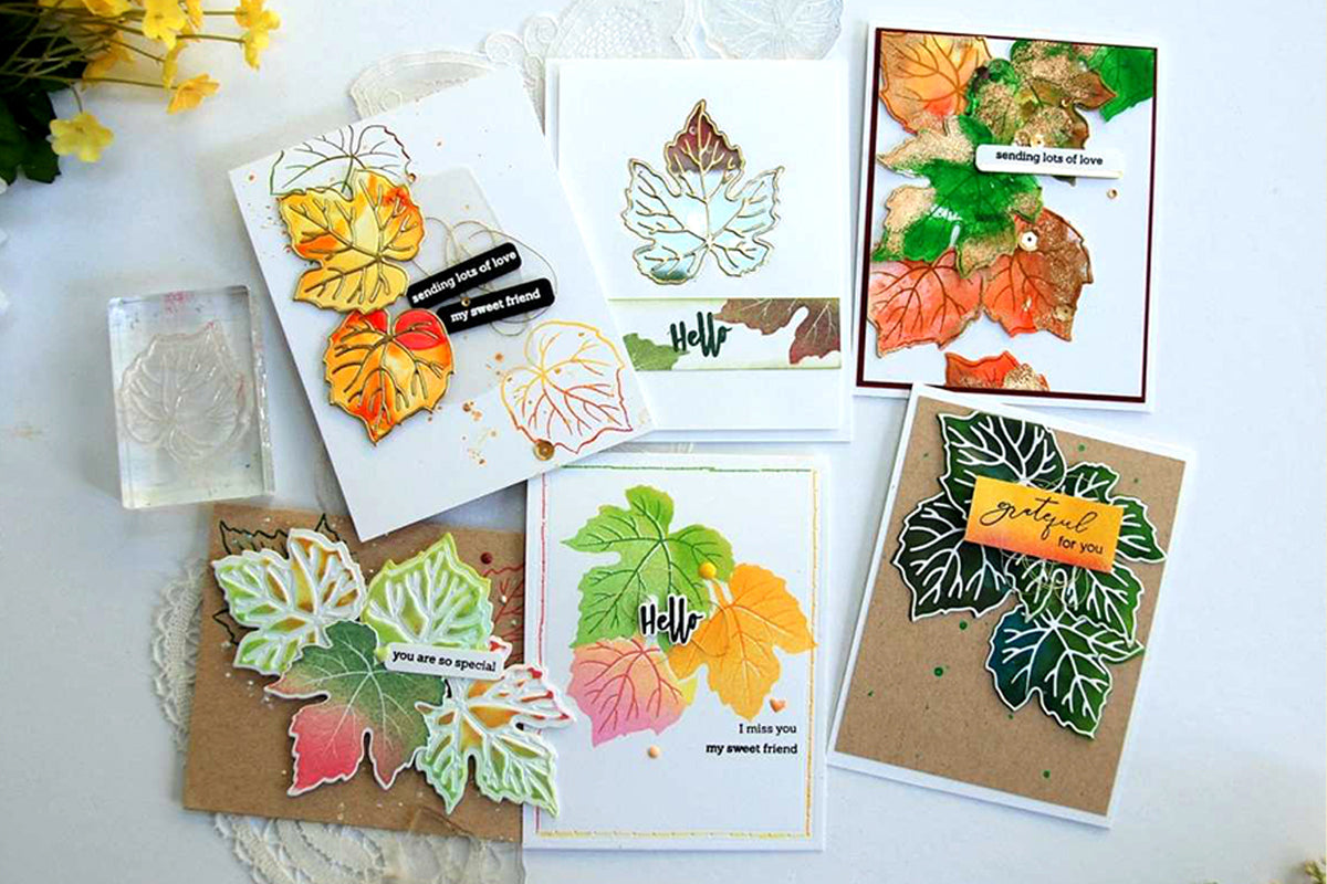 Handmade cards created with mixed media techniques