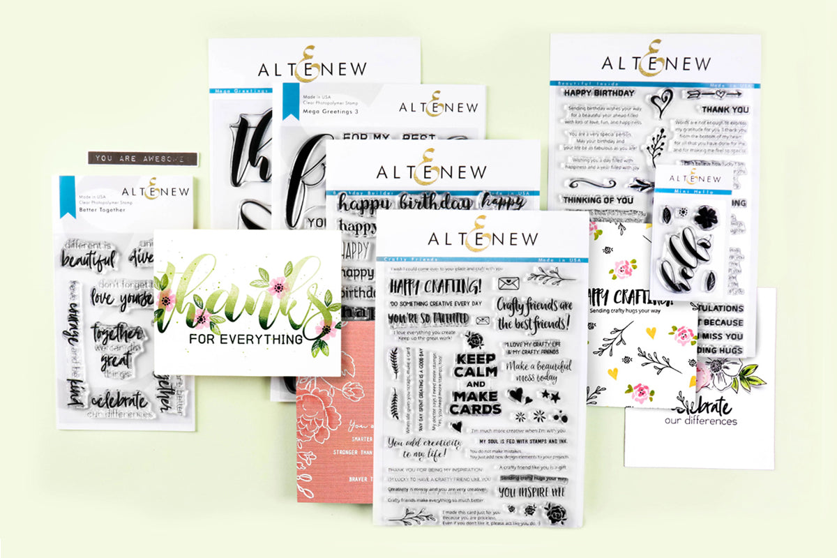 sentiment stamps by Altenew