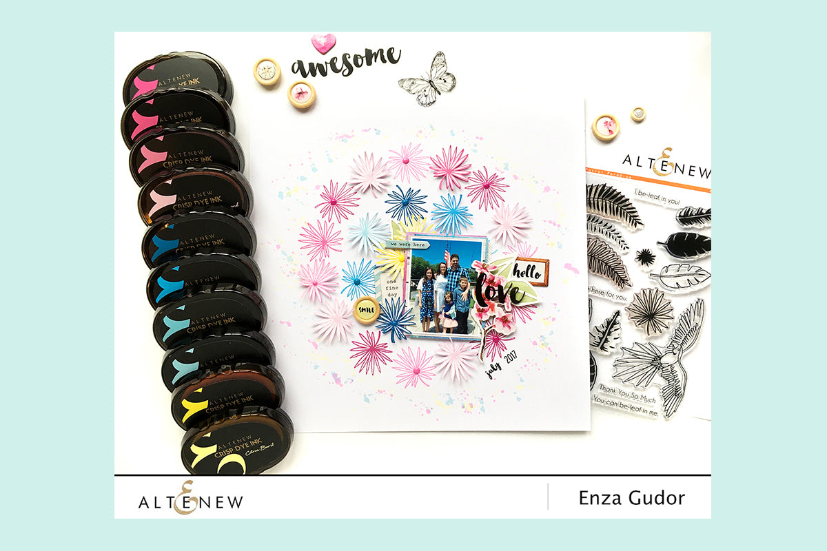 Scrapbook page using dye based inks and clear stamps