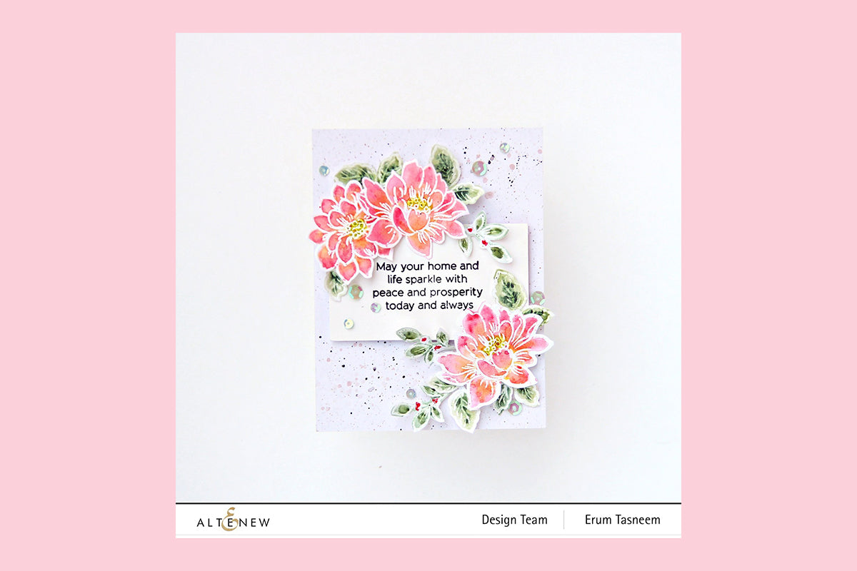 Easy watercolor card with floral stamps