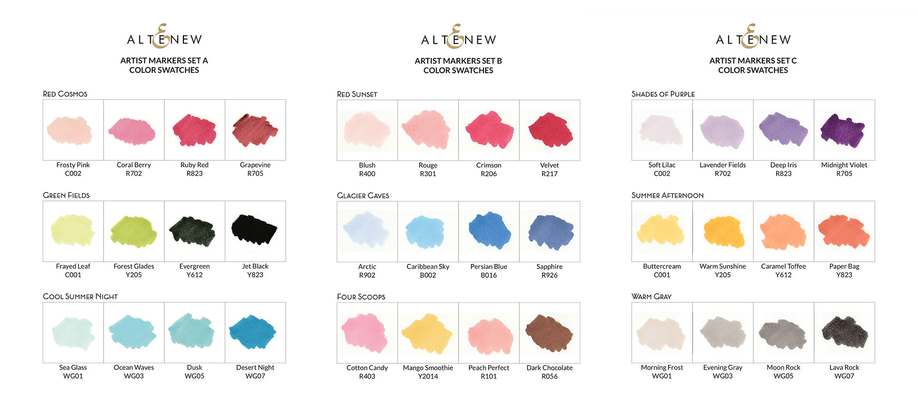 Color swatches altenew altenew artist markers ink color swatches blank version nvjuhfo Image collections
