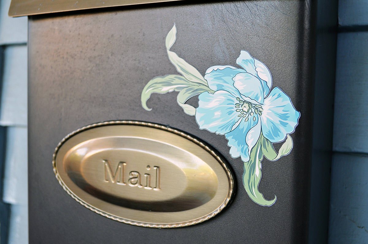 Mailbox decorated with wall decal