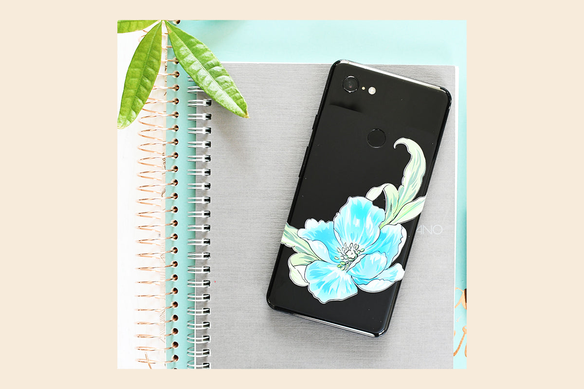 Smartphone decorated with Blue Flower Wall Decal Set from Altenew