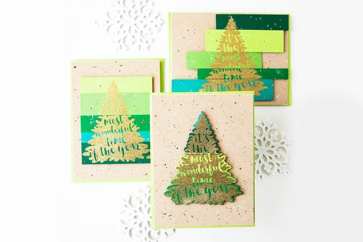 Christmas cards with Christmas tree craft stamps and dies