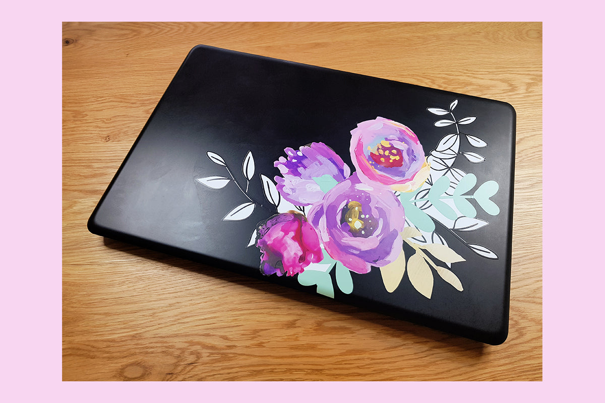 Laptop decorated with wall decal set from Altenew