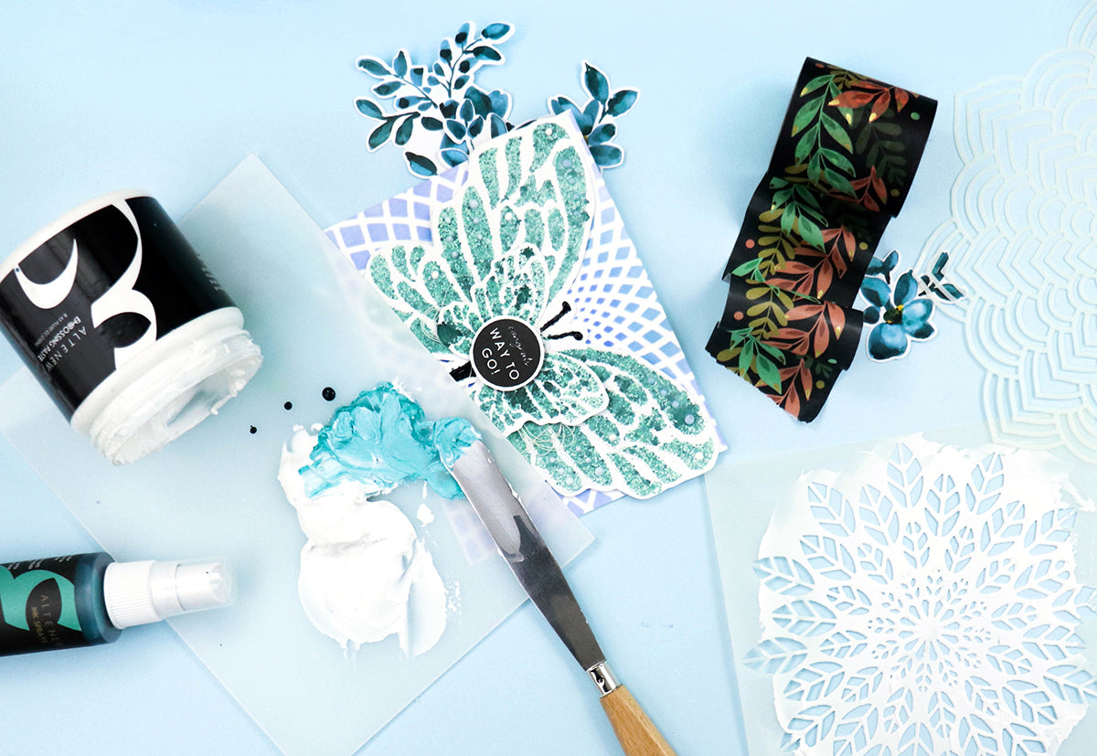 Altenew embossing paste and leaf stencil