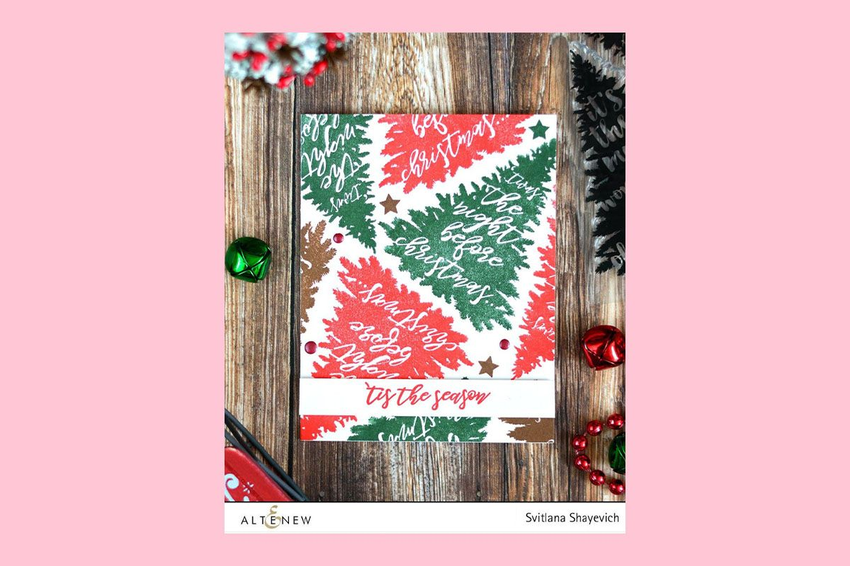 Handmade card with Christmas tree stamped background