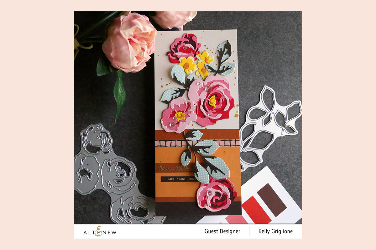 Handmade card with 3D paper flowers