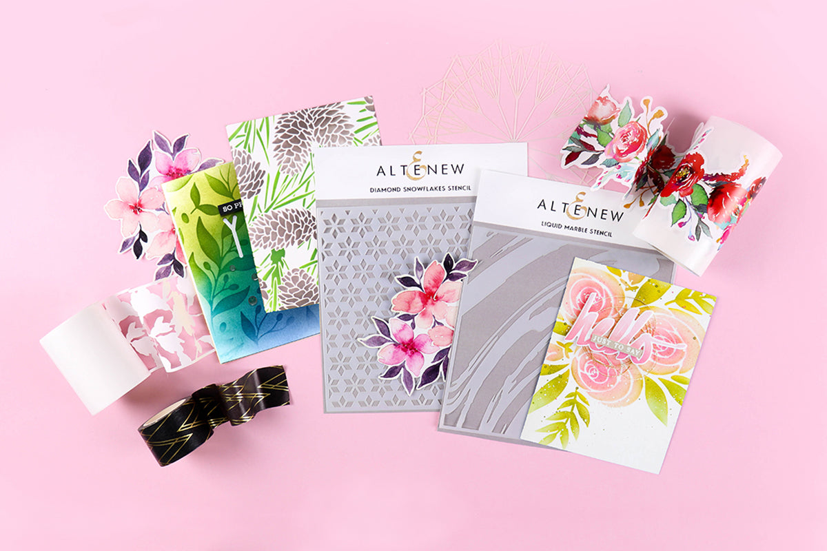 Different mixed media art supplies from Altenew