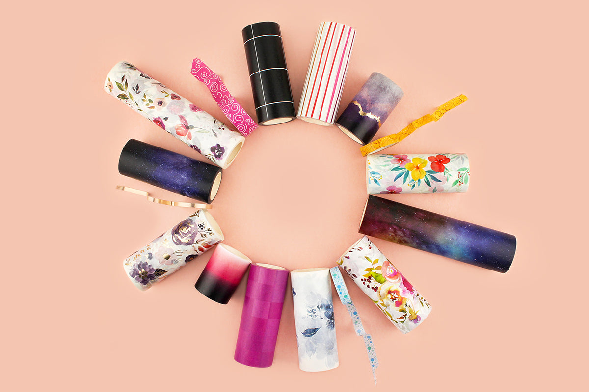 Different washi tape sizes and colors