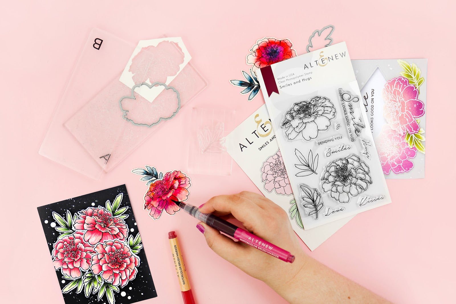 handmade floral card from Altenew