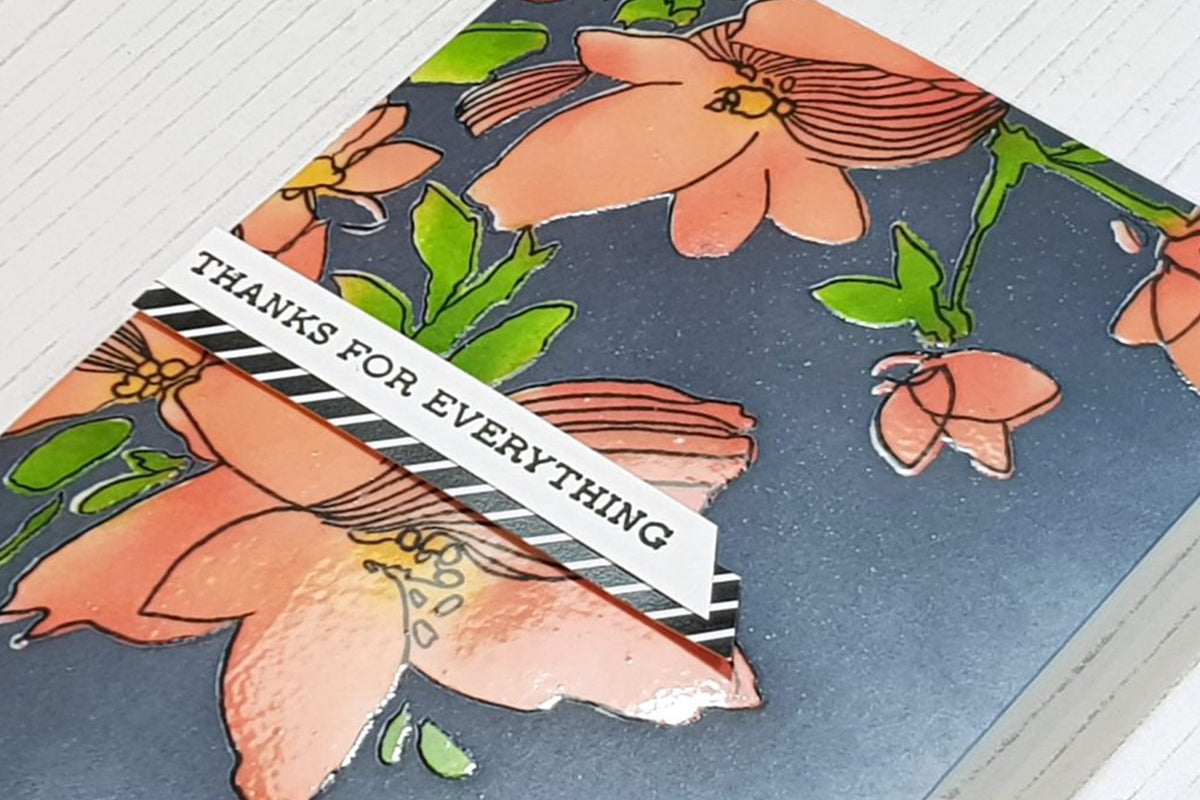 Handmade card created with stenciling technique