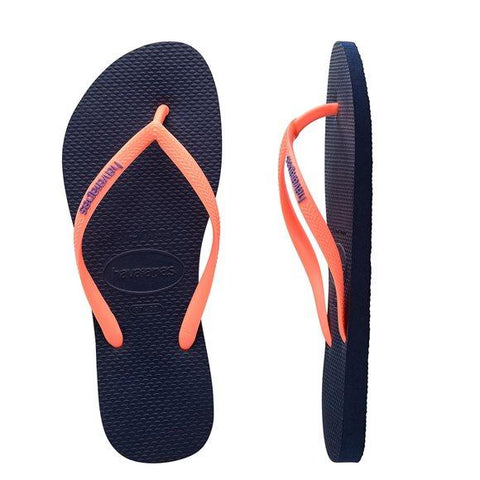 Havaianas Kids Slim Rubber Logo Navy Blue Toddler