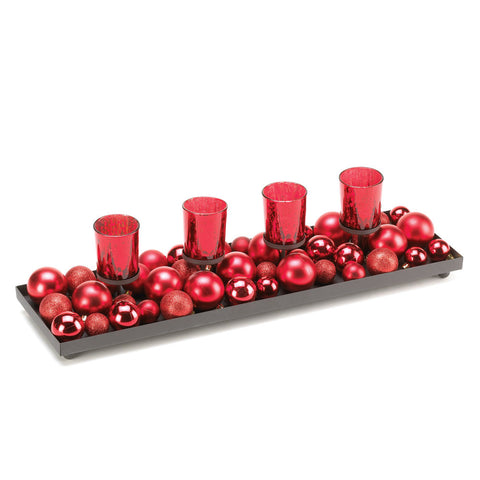 Festive Red Candleholder With Glittering Ornaments
