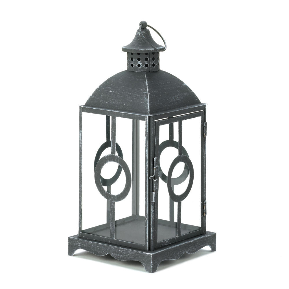 Charming Antique Distressed Grey Lantern