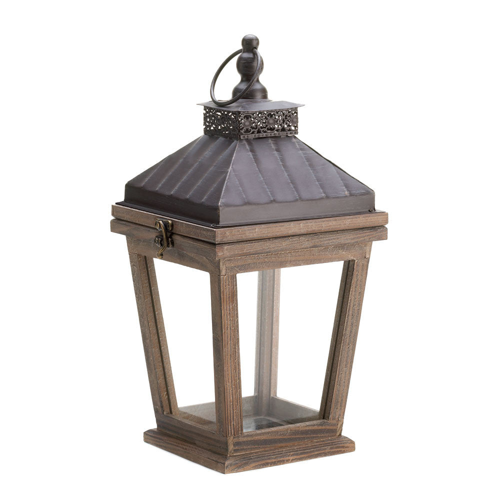 Open Top Wood Frame Lantern