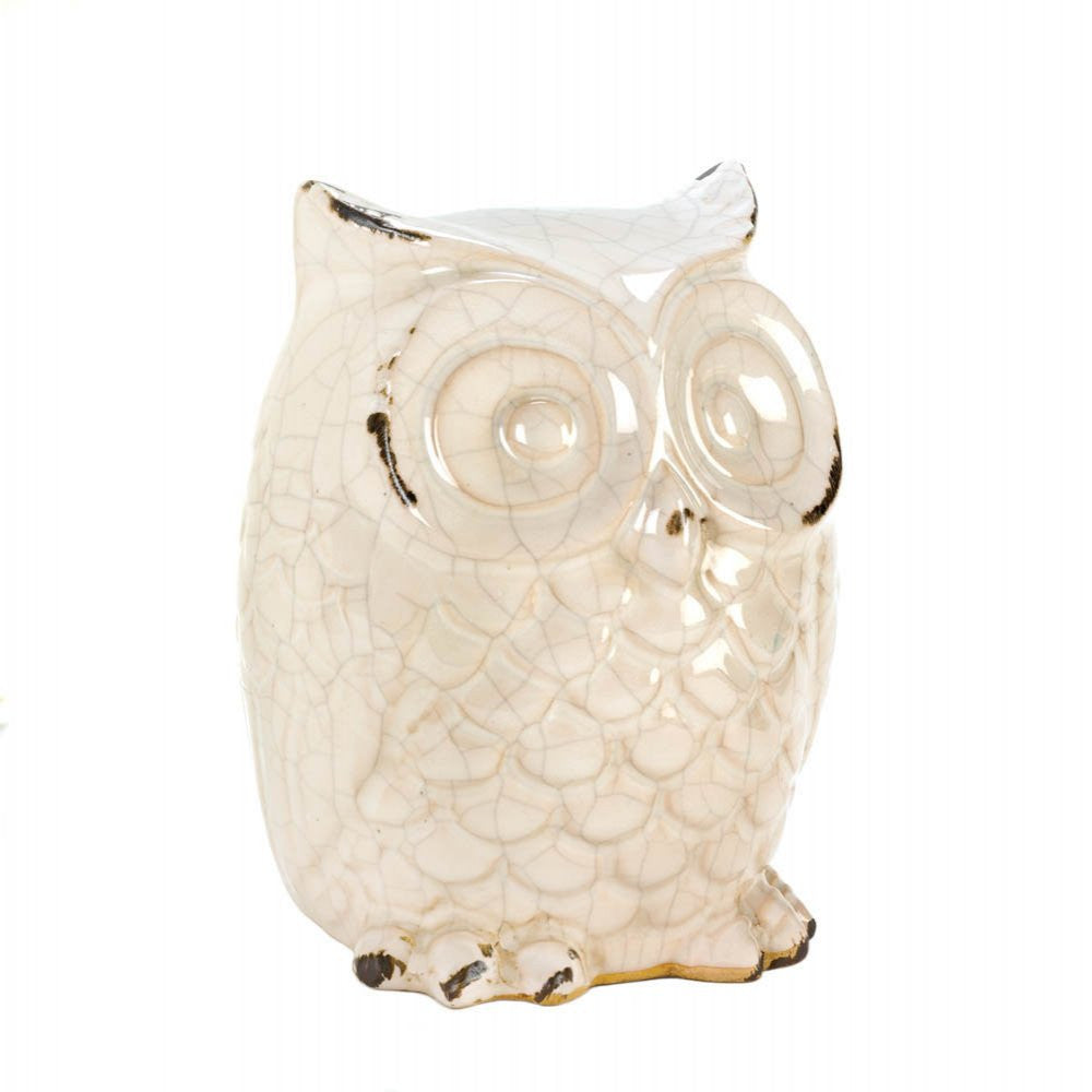 Wide-eyed Glazed White Owl Statue