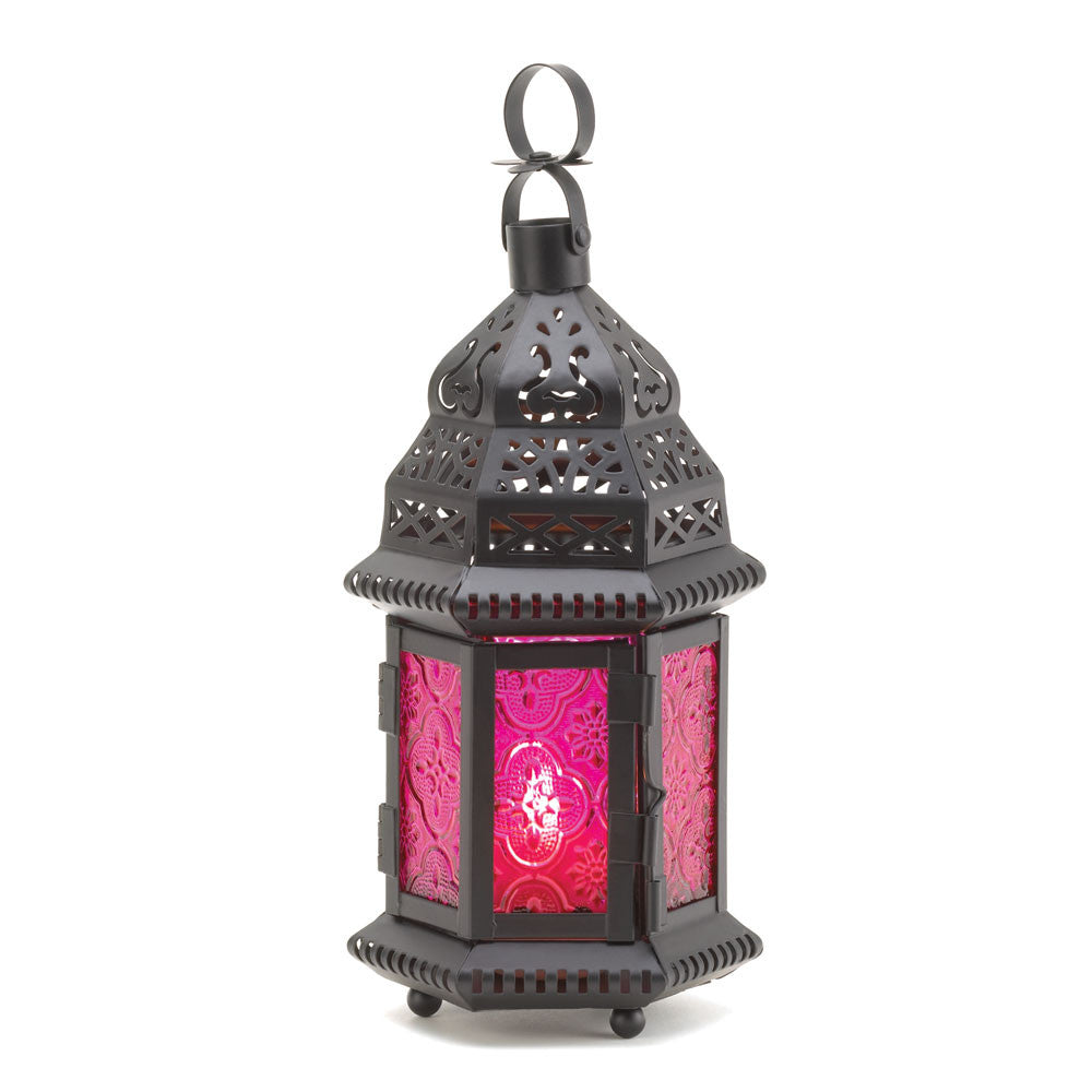 Dark Pink Glass Candle Lantern