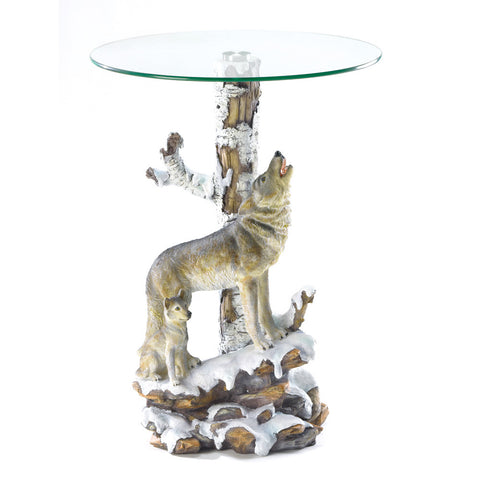 Wolf Table W/glass Tabletop