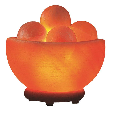 Himalayan Salt Bowl Lamp With Round Massage Stones