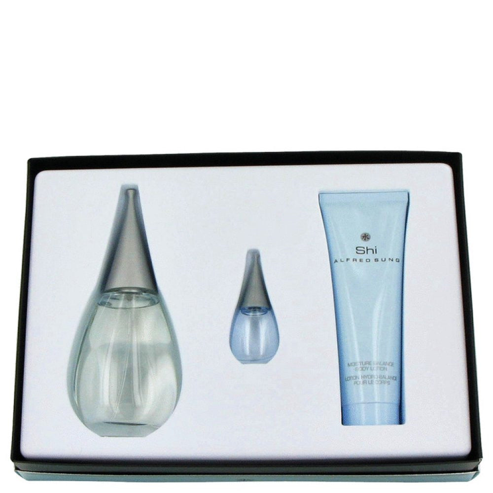 Shi By Alfred Sung Gift Set -- 3.4 Oz Eau De Parfum Spray + 2.6 Oz Body Lotion + .24 Oz Mini Edp
