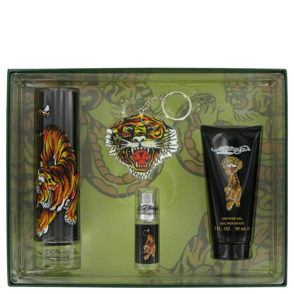 Ed Hardy By Christian Audigier Gift Set -- 3.4 Oz Eau De Toilette Spray + 3 Oz Shower Gel + .25 Oz Mini Edt + Keychain