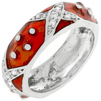 Boogie Down Ruby Red Enamel Ring (size: 05)